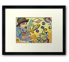 David juggling fish. Framed Print