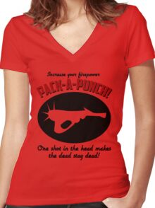 PACK-A-PUNCH! Women's Fitted V-Neck T-Shirt