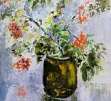 Mountain-ash in a vase by Maria Karalyos