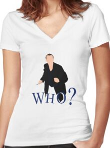 """""""WHO?"""" Ninth Doctor T-Shirt Women's Fitted V-Neck T-Shirt"""