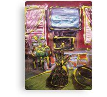WINDOWS, TV AND PINEAPPLE Canvas Print