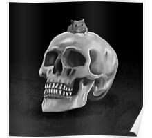 Little mouse and skull - BW Poster