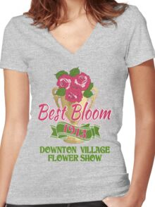 Downton Abbey Inspired - Downton Village Flower Show - Best Bloom - Grantham Cup Trophy Women's Fitted V-Neck T-Shirt