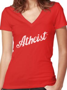 Classic Atheist Script by Tai's Tees Women's Fitted V-Neck T-Shirt