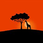 Giraffe at Sunset by Nicole Hass
