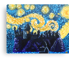 Dr Who Hogwarts Starry Night Canvas Print