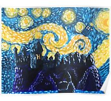 Dr Who Hogwarts Starry Night Poster