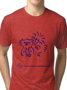 Echidna cartoon with koala - blue Tri-blend T-Shirt