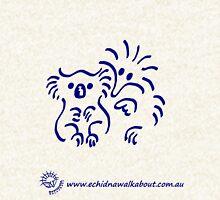 Echidna cartoon with koala - blue Hoodie