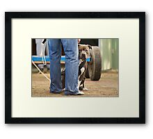 Romeo peaking from behind Bart Framed Print