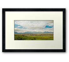 Farm and Mountains Framed Print