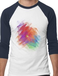 Apophysis Fractal Design - Enhanced Rainbow Flower Men's Baseball ¾ T-Shirt