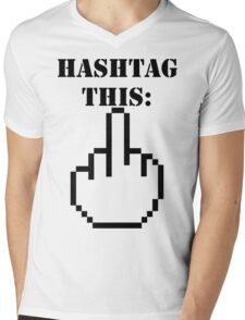 Hashtag This - Giving the Finger Icon Mens V-Neck T-Shirt