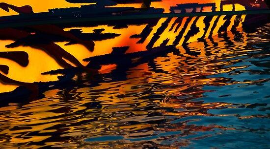 Speedboat abstract by Celeste Mookherjee