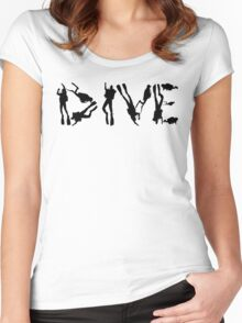 DIVE with scuba divers making the word Women's Fitted Scoop T-Shirt