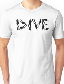 DIVE with scuba divers making the word Unisex T-Shirt