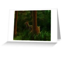 Stag in the Morning Forest Greeting Card