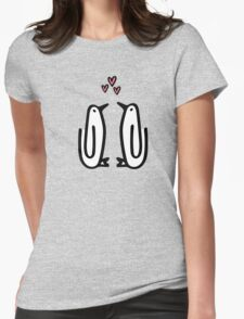 Paperclip Penguin Hearts Womens Fitted T-Shirt