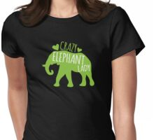 Crazy Elephant lady Womens Fitted T-Shirt