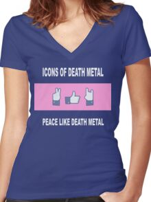 Peace Like Death Metal Women's Fitted V-Neck T-Shirt