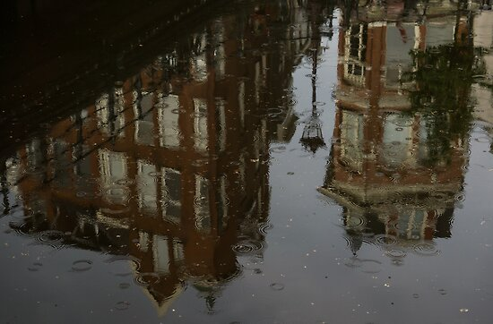 Starting to Rain - Amsterdam Canal Houses Reflected by Georgia Mizuleva