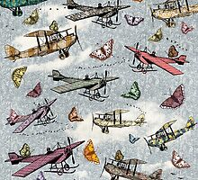 Vintage Sky - Planes and Butterflies by Paula Belle Flores