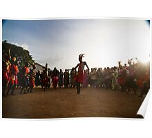 Ugandan dance circle in the dust Poster