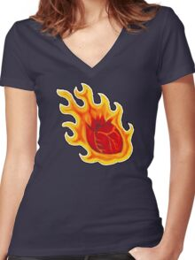 This Hearts on Fire Women's Fitted V-Neck T-Shirt