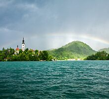 Rainbow over Lake Bled by Ian Middleton