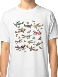 Vintage Sky - Planes and Butterflies Classic T-Shirt
