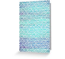 Blue Watercolor Fish Scales Pattern Greeting Card