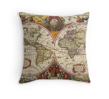 World Map 1630 Throw Pillow