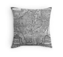 Paris Map 1652 Throw Pillow