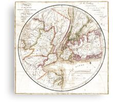 New York Map 1828 Canvas Print