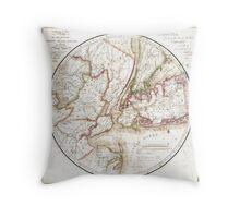 New York Map 1828 Throw Pillow
