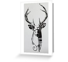Screen Print- Stylised Stag. Greeting Card