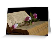 book and rose Greeting Card