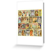 Art Nouveaus Advertisemets Collage Greeting Card