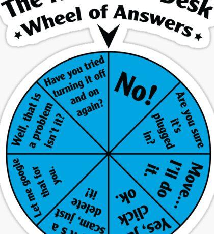 The IT Service Desk Wheel of Answers. Sticker