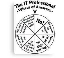 The IT Professional Wheel of Answers. Canvas Print