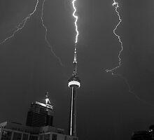 Lightning Striking the CN Tower by Michiel Meyboom
