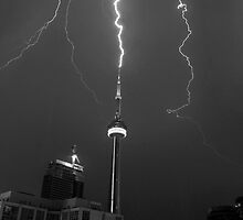 Lightning Striking the CN Tower by Michiel Meyboom