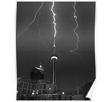Lightning Striking the CN Tower Poster