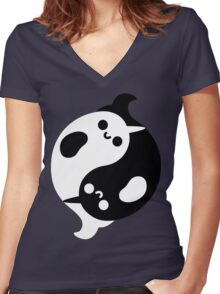 Yin Yang Narwhals Women's Fitted V-Neck T-Shirt