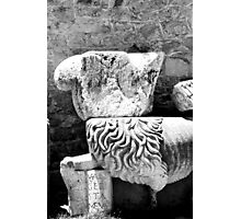 Ancient Stone Lion Pieces in Archaeological Museum Chania Crete, Greece Photographic Print