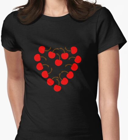 Cherry Heart Womens Fitted T-Shirt