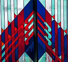 Red And Blue Stained Glass by phil decocco