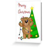Cute Teddy Bear Tangled in Christmas Tree Lights Greeting Card
