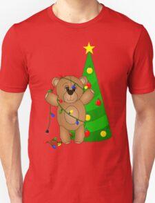 Cute Teddy Bear Tangled in Christmas Tree Lights T-Shirt