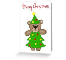 Cute Teddy Bear Dressed as a Christmas Tree Greeting Card